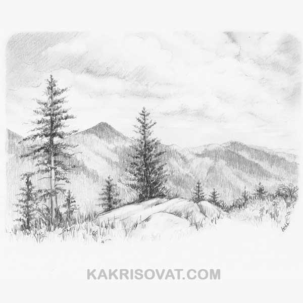 Рисунки природы карандашом для срисовки: красивые и легкие ... Рисунки Карандашом для Начинающих Про Любовь Поэтапно