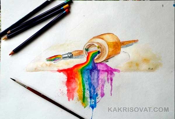 Рисунок акварельными карандашами