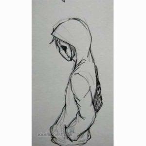 грустный парень рисунок карандашом