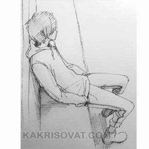 грустный подросток карандашом