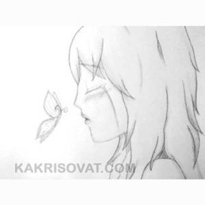 девушка в грусти карандашом