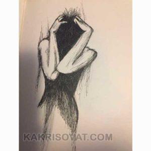 девушка в печали карандашом