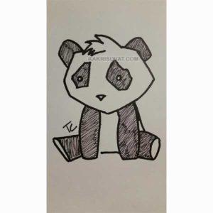 грустная панда рисунок карандашом
