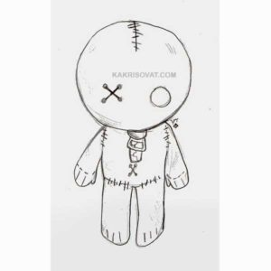 тряпичная кукла карандашом