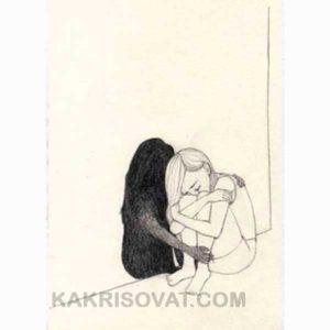 девушка плачет рисунок карандашом