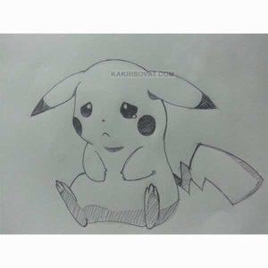 грустный покемон карандашом