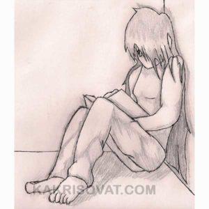 грустная девушка читает книгу рисунок