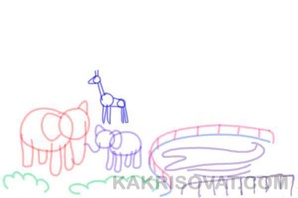 как нарисовать зоопарк