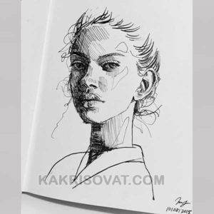 лицо девушки штриховка карандашом