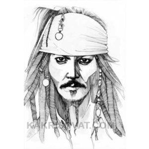 лицо Джек Воробей штриховка карандашом