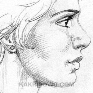 девушка лицо штриховка