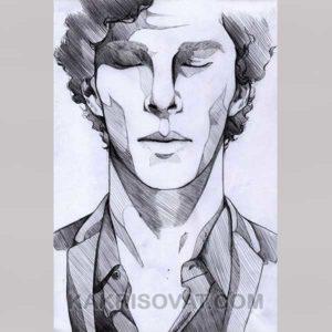 Шерлок лицо штриховка карандашом