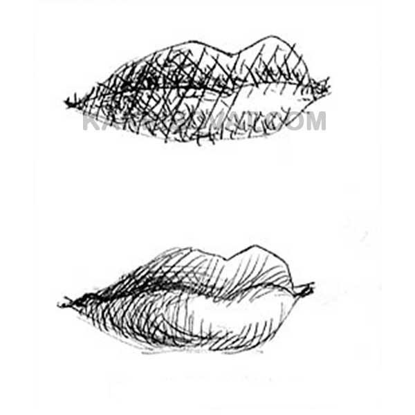 губы разные техники штриховки