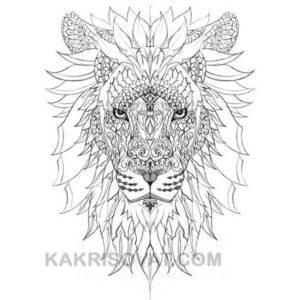 лев нарисованный узором