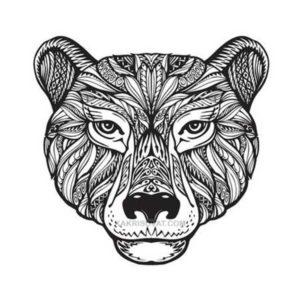 медведь нарисованный узором