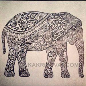 слон нарисованный узором
