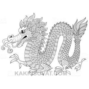 дракон нарисованный узором