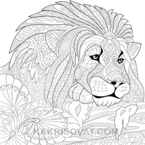 лев нарисованный узором карандашом