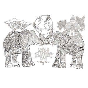 слоны с узором карандашом