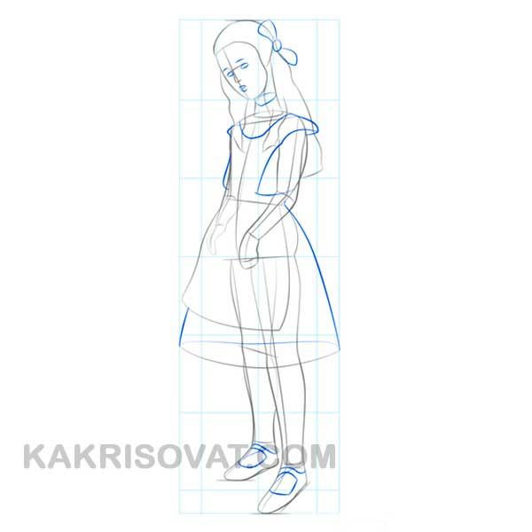 Алиса из сказки Алиса в стране чудес рисовать поэтапно