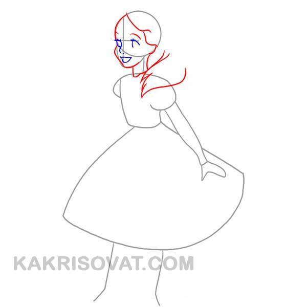 Алиса из мультфильма Алиса в стране чудес рисовать поэтапно