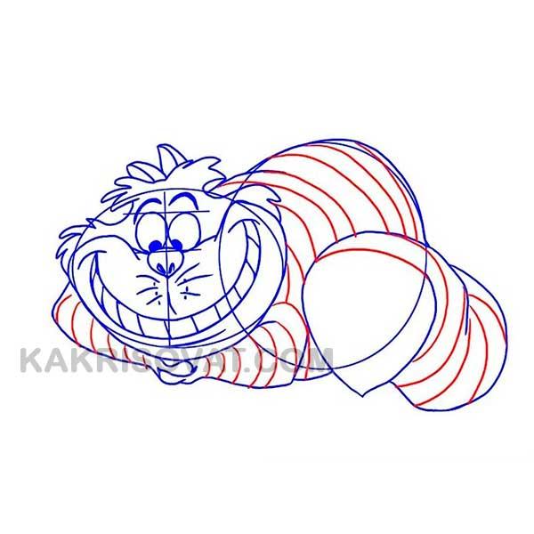 Чеширский кот из мультфильма Алиса в стране чудес рисовать поэтапно
