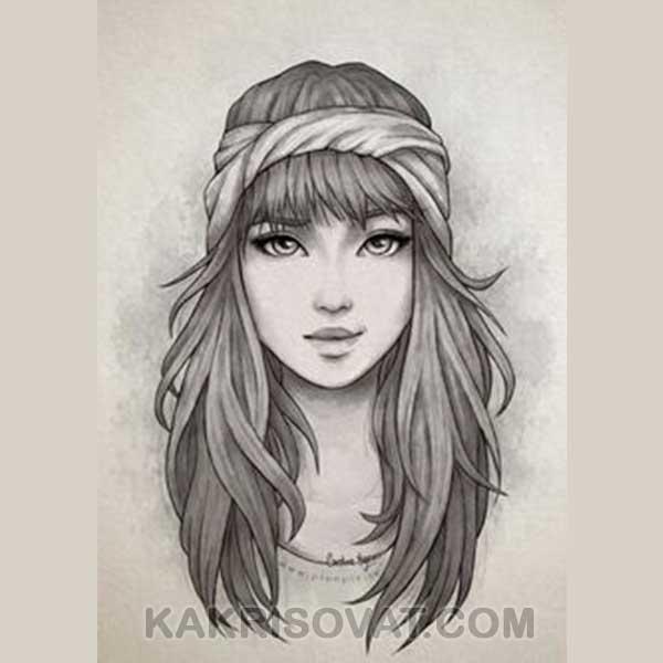 Растушевка портрет девушки