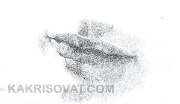 растушевка карандашом губы